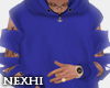 Ripped Arms Blue Hoodie