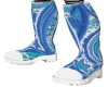 Blue Paisley Boots