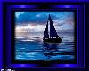 Blue Sail Boat Framed