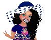 Aya blk w/blu dot hat