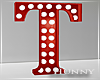 H. Marquee Letter Red T