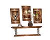 brown wall table & art