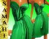 {S} Strapless green silk