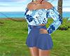 blue floral short set