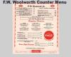 FW Woolworth Lunch Menu