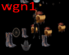 boot hat wagon particles