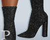 XBM-Grey Velvet Boots