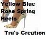 Yellow Blue Rose Heels