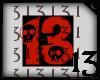 13 Skull Red Black BG