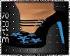 Black Heels Blue Flowers