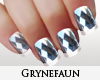 Silver facets nails
