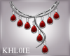 K silver n red necklace