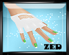 Gloves White Green nails