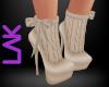 Beige knit boots