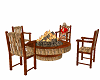 wood table with fire