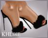 k black fur slippers