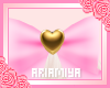 ☾ Gold Heart Bow