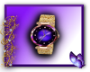 Purple and golden watch