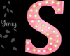Pink Wood Letter S