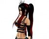 Black red ponytails