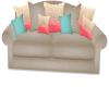~SR~ Coral and Aqua Sofa