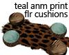 Teal anml print flr cush