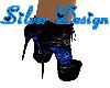 SW Blk/Bl Rose Heels