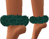 Emerald Fur Ankle Cuffs