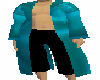 Teal silk robe