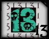 13 Skull Teal Black BG