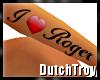 I heart Roger arm tattoo