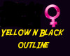 * yellow  black outline