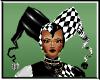 Harliquine hat  Blk & Wh