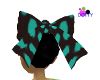 Black and teal bow