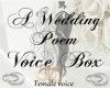 A Wedding Poem Voice Box