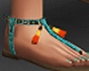 Sandals with turquoise