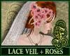 Lace Veil + Blush Roses