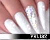 Nails- White Fancy Glitr