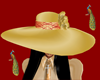 Gold hat with wide brim