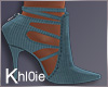 K iced blue  boots