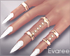 White Nails Gold Rings