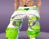 white/green toxic pants