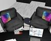 :3 Black Glow Chairs