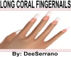 LONG CORAL FINGERNAILS