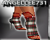 RED PLAID ANKLE SHOES