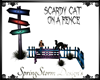 SCARDY CAT ON FENCH MESH