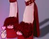 e fur heels - red