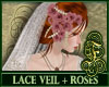 Lace Veil + Pink Roses