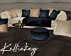 Gold w Navy Sofa w Pillo