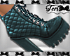 Teal Qulited Boots